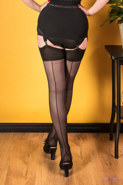 What Katie Did 40 Denier Black Seamed Stockings - Mayfair Stockings