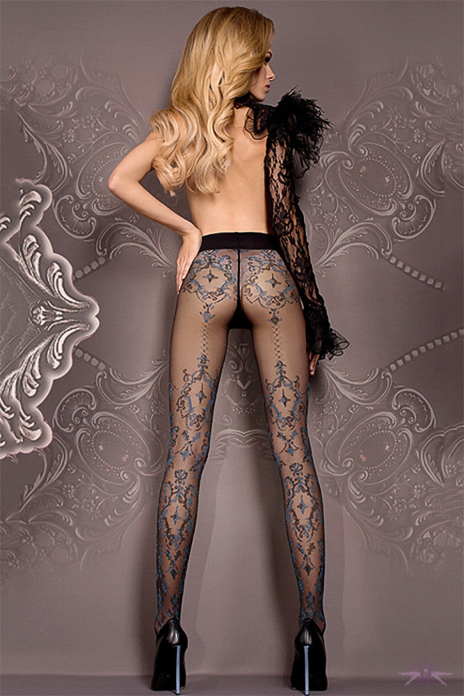 Ballerina Black and Blue Floral Tights - Mayfair Stockings - Ballerina - Tights - 1