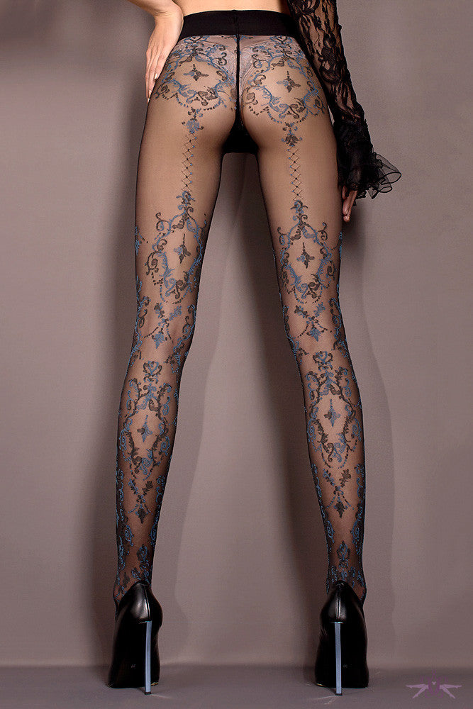 Ballerina Black and Blue Floral Tights