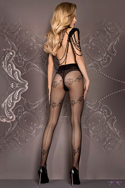 Ballerina Floral Seamed Tights - Mayfair Stockings