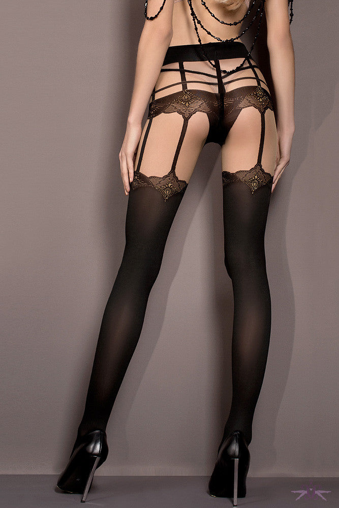 Ballerina Black Opaque Strap Suspender Tights - Mayfair Stockings