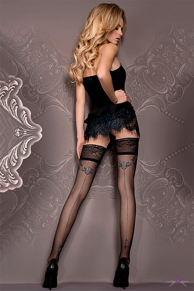Ballerina Black and Blue Seamed Hold Ups - Mayfair Stockings - Ballerina - Hold Ups - 1