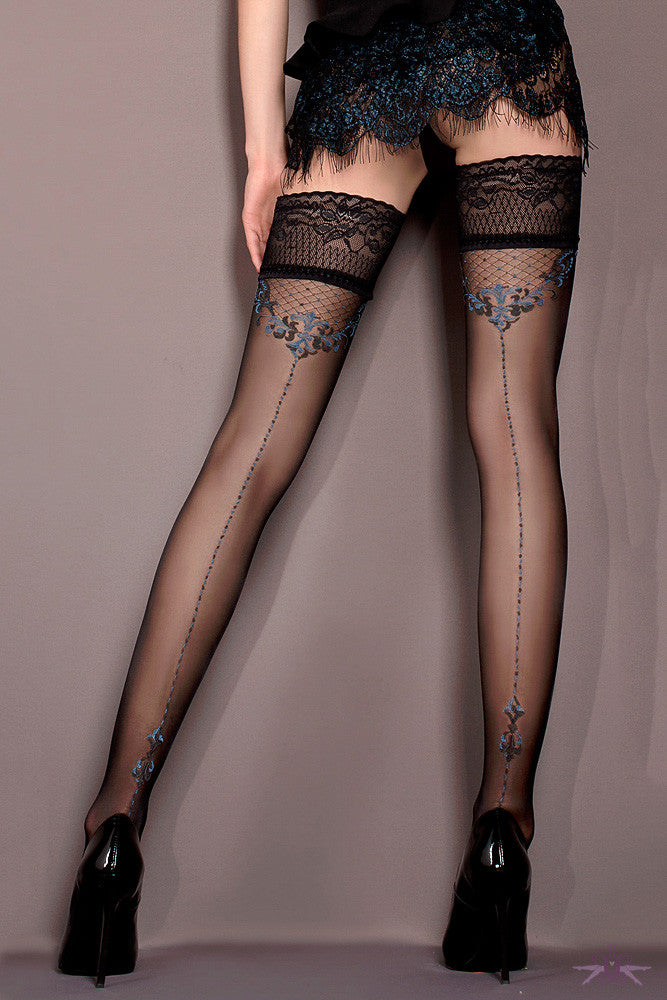 Ballerina Black and Blue Seamed Hold Ups - Mayfair Stockings