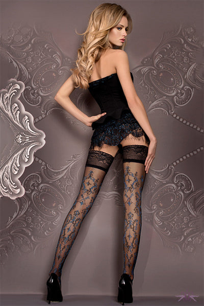 Ballerina Black and Blue Floral Hold Ups - Mayfair Stockings