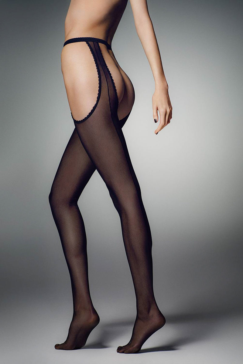Veneziana Riga Strip Panty Suspender Tights - Mayfair Stockings