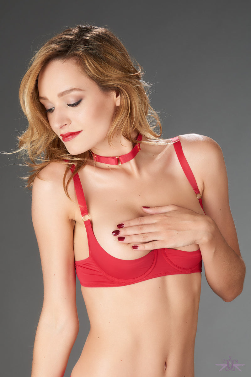 Maison Close Tapage Nocturne Red Quarter Cup Bra