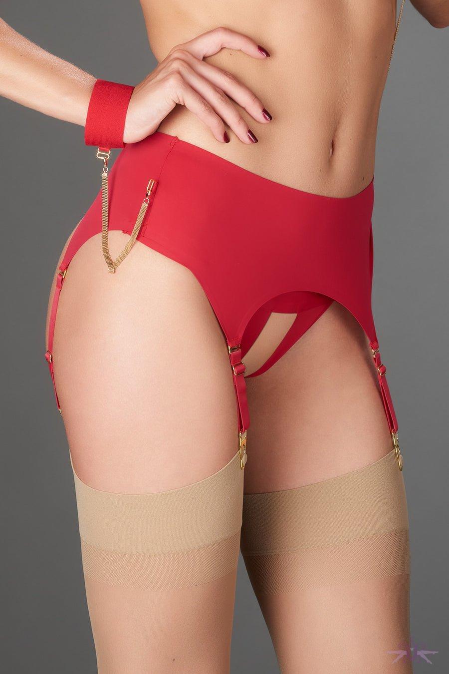Maison Close Tapage Nocturne Red Garter Belt - Mayfair Stockings
