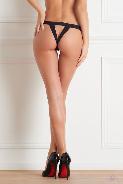 Maison Close Tapage Nocturne Black Openable Thong - Mayfair Stockings