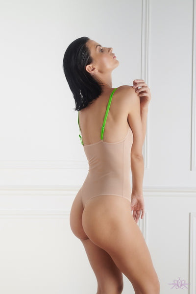 Maison Close Corps a Corps Nude/Neon Green Thong Body