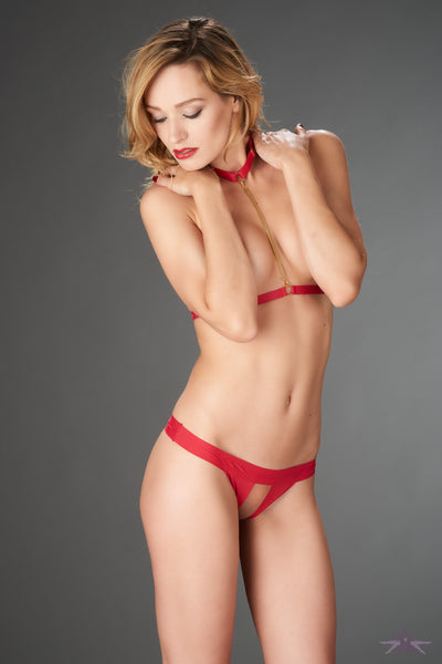 Maison Close Tapage Nocturne Red Openable Thong - Mayfair Stockings