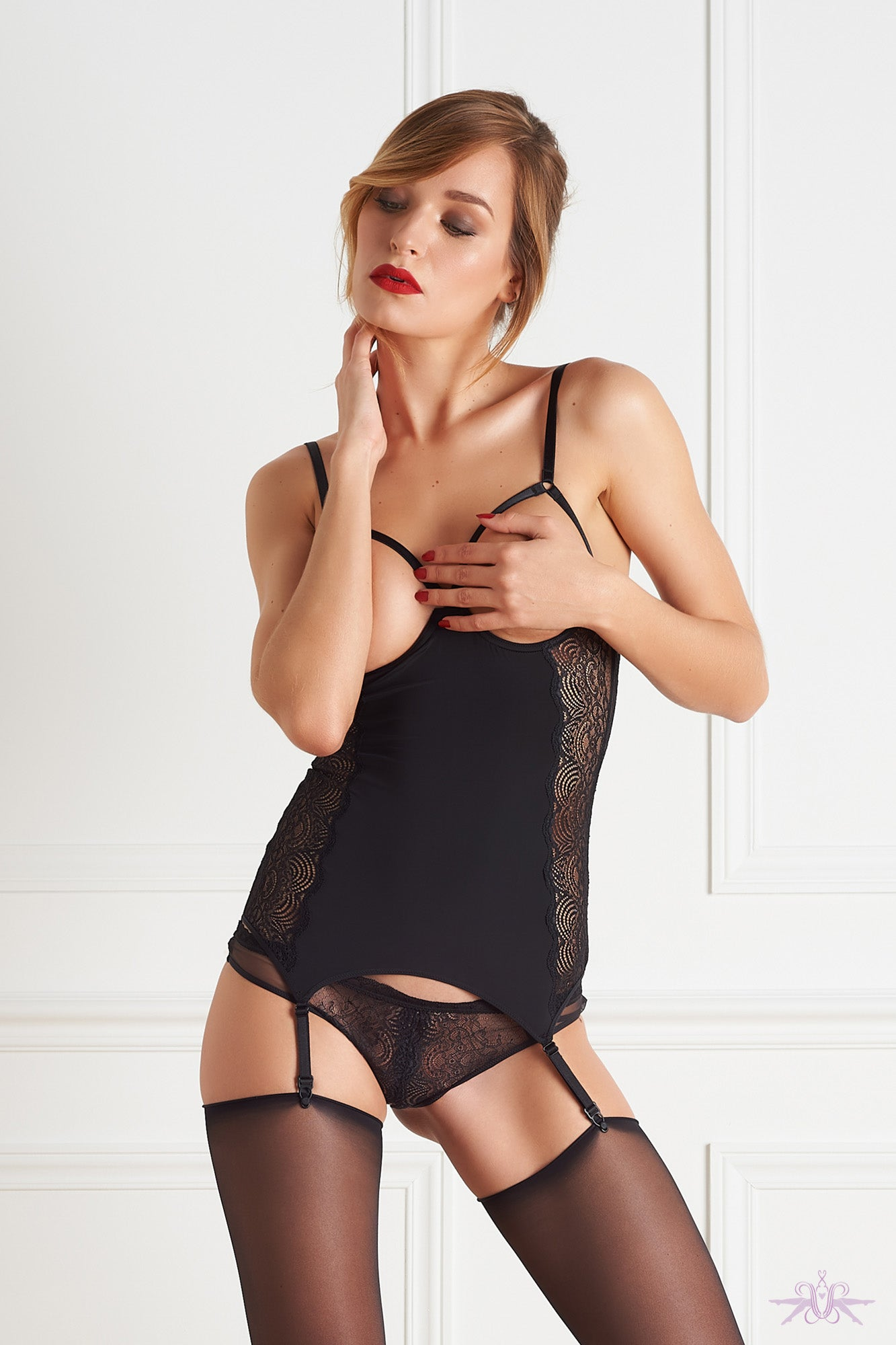 Maison Close La Directrice Naked Breast Bodice with Suspenders