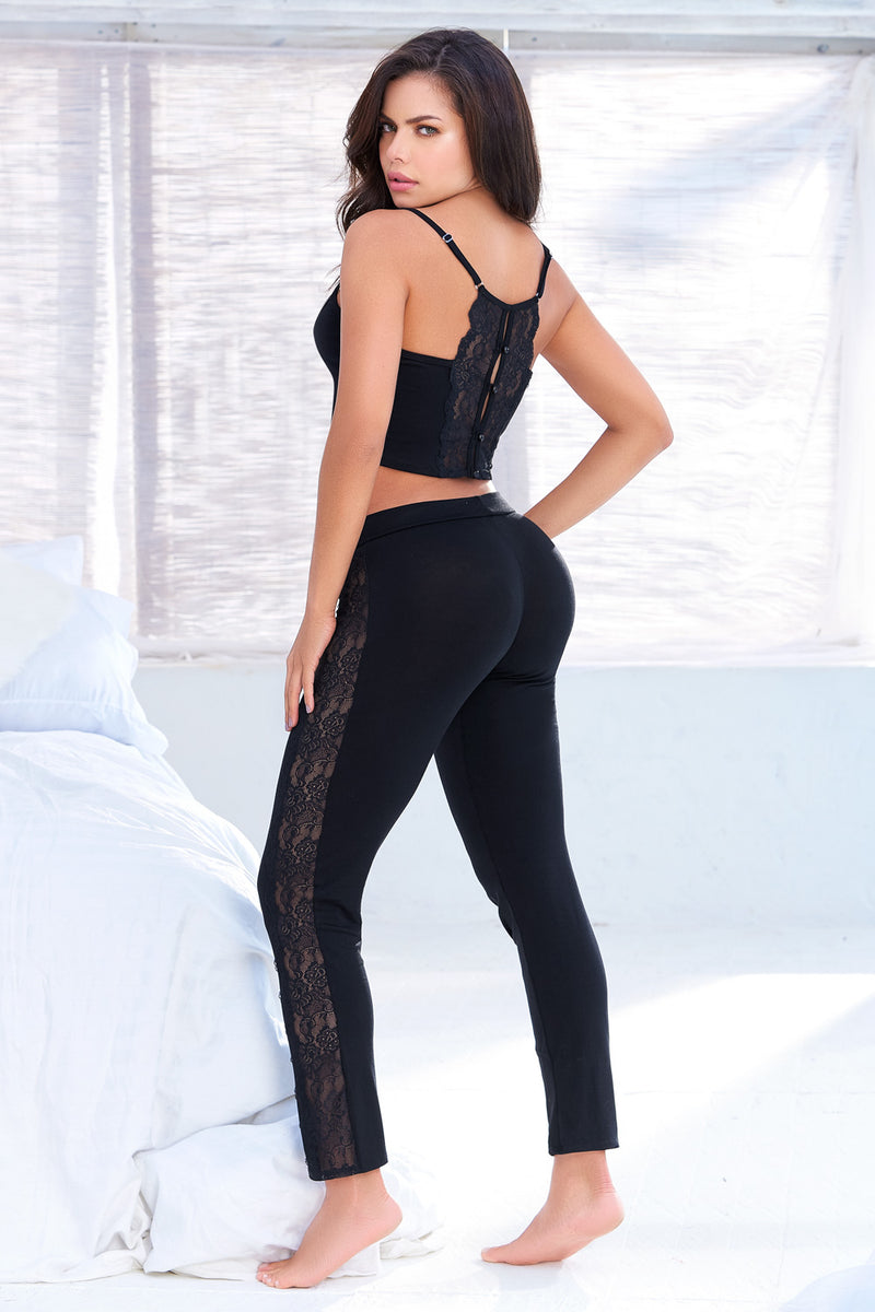 Mapale Crop Two Piece Black Lounge Set
