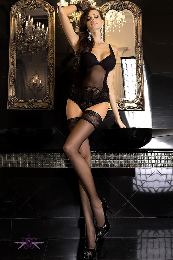 Ballerina Hush Hush Black Pheromone Hold Ups - Mayfair Stockings - Ballerina - Hold Ups - 1