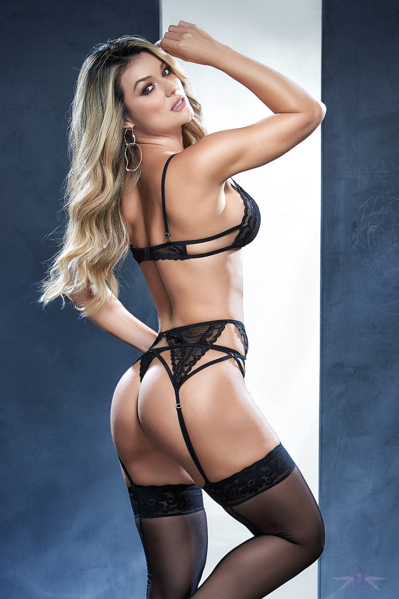 Mapale Three Piece Black Mesh  Lingerie Set