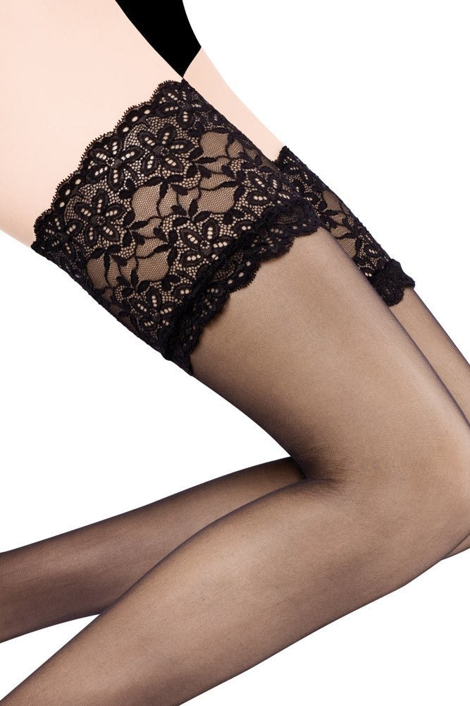 Cervin Rive Gauche 100% Silk Hold Ups - Mayfair Stockings