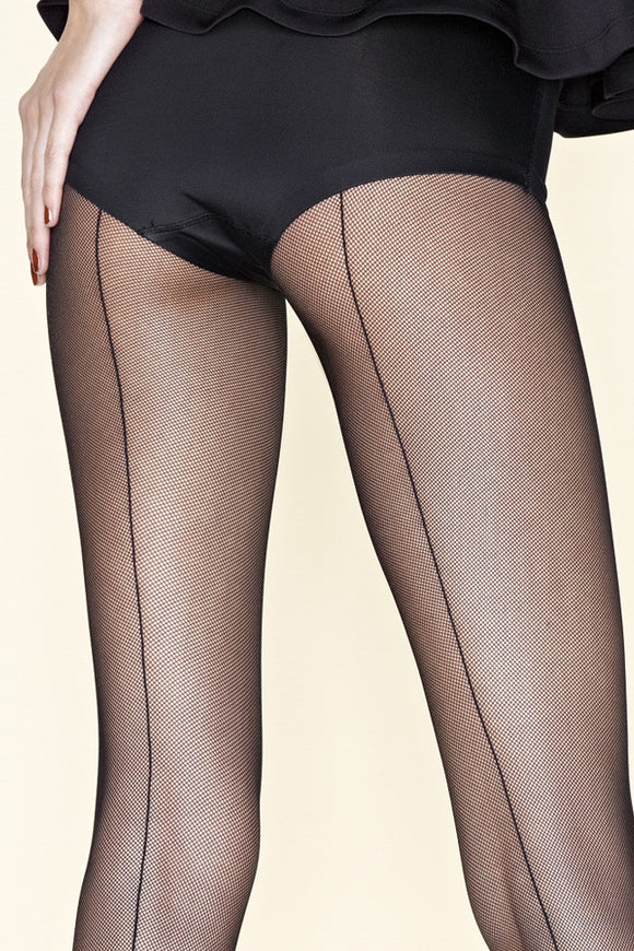 Gerbe Sevilla Seamed Fine Fishnet Tights - Mayfair Stockings - Gerbe - Tights - 1