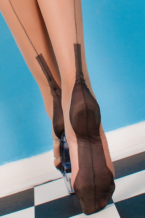 Gio Cuban Heel Fully Fashioned Stockings - Full Contrast - Mayfair Stockings - Gio - Stockings - 4