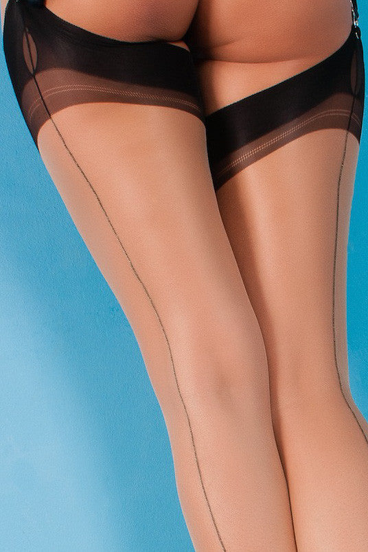 Gio Cuban Heel Fully Fashioned Stockings - Full Contrast - Mayfair Stockings - Gio - Stockings - 5