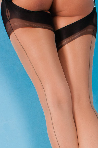 Gio Cuban Heel Fully Fashioned Stockings - Full Contrast - Mayfair Stockings