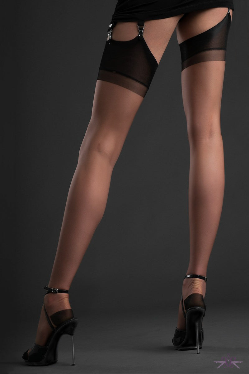 Gio Reinforced Heel and Toe Contrast Nylon Stockings - Mayfair Stockings