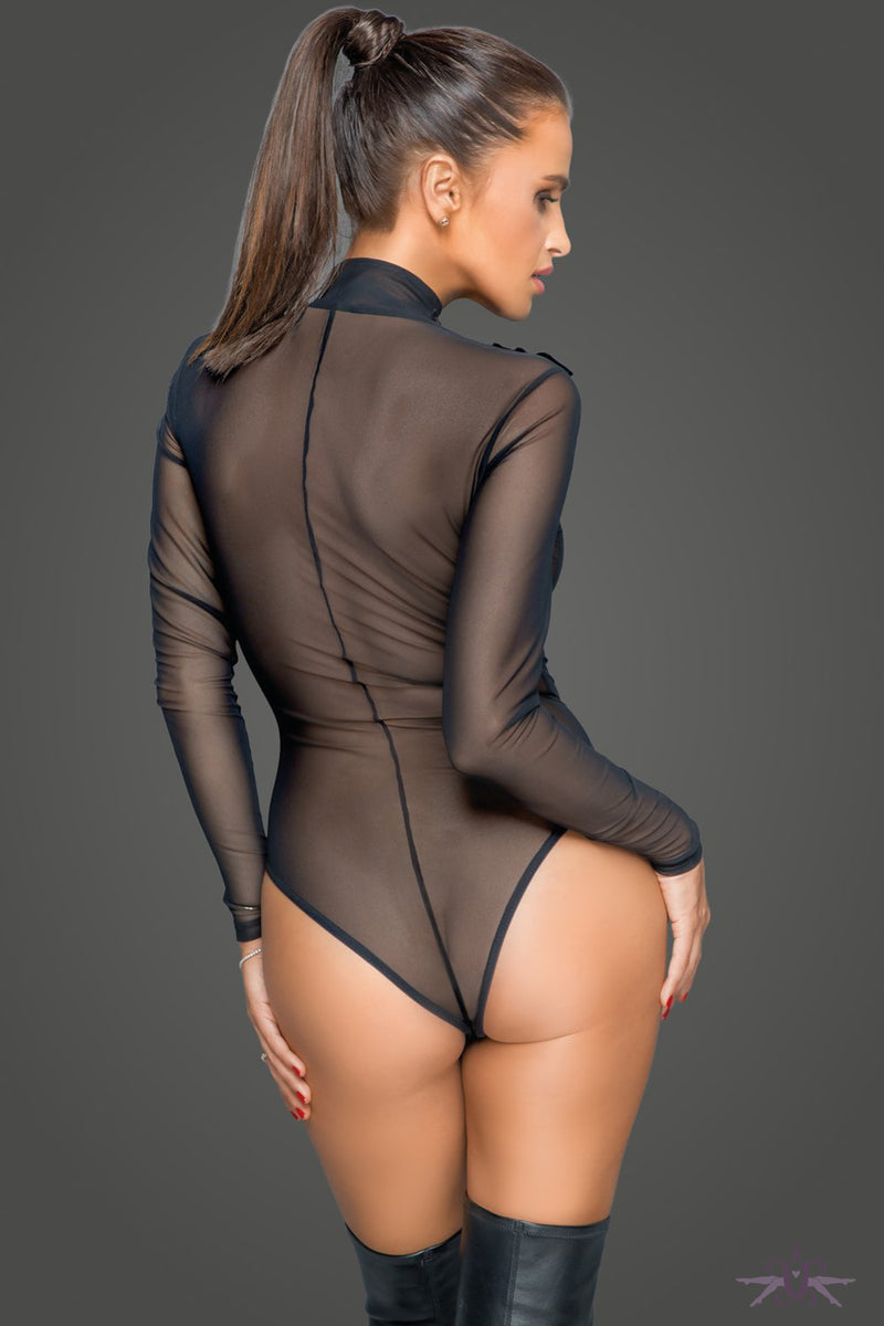 Noir Handmade Sheer Zipped Bodysuit