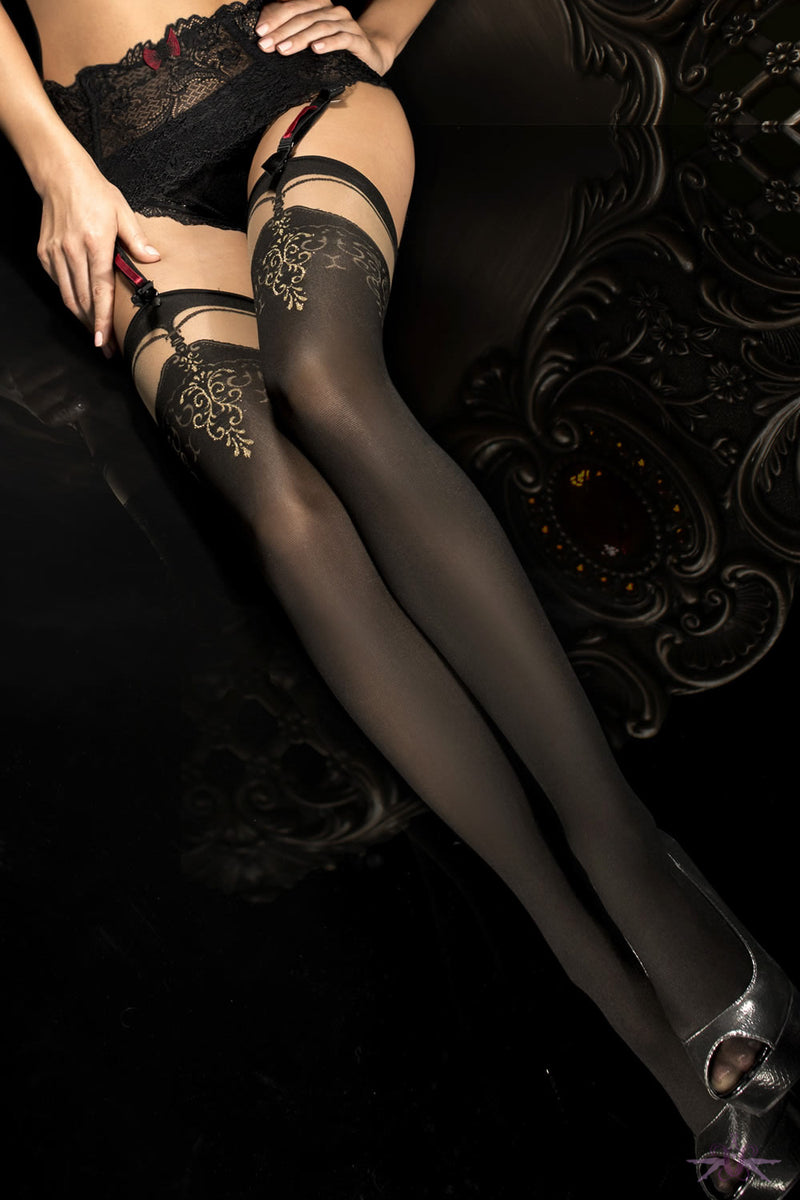 Ballerina Black and Gold Opaque Stockings - Mayfair Stockings