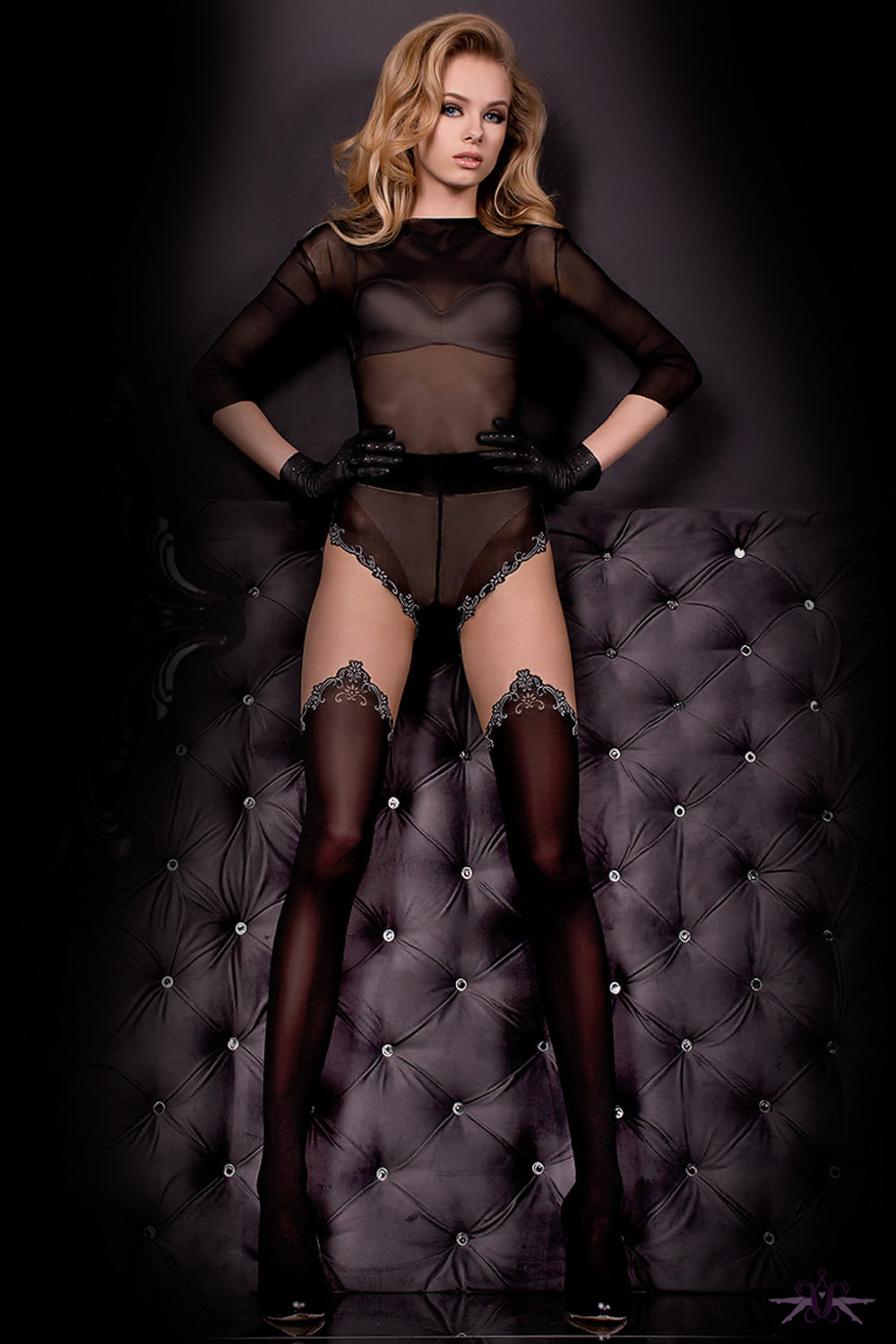 Ballerina Black Opaque and Grey Seam Tights - Mayfair Stockings