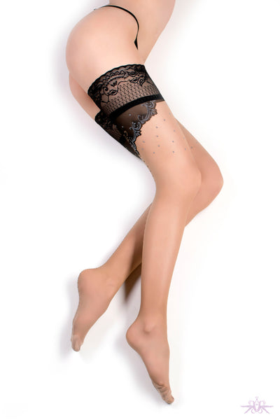 Ballerina Nude Seamed Hold Ups - Mayfair Stockings