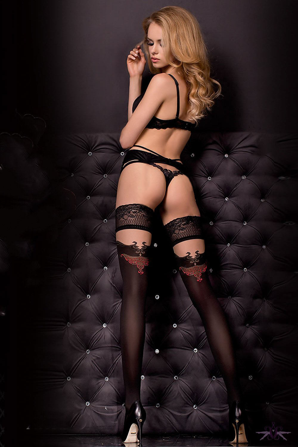 Ballerina Black Opaque and Red Flame Hold Ups - Mayfair Stockings