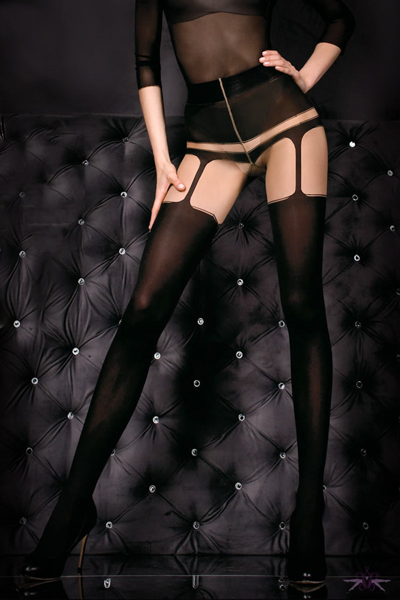 Ballerina Black Opaque Faux Suspender Tights - Mayfair Stockings