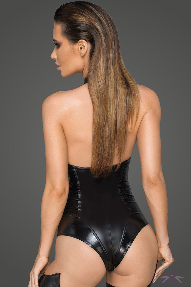 Noir Handmade Wetlook Lacquered Eco Leather Bodysuit