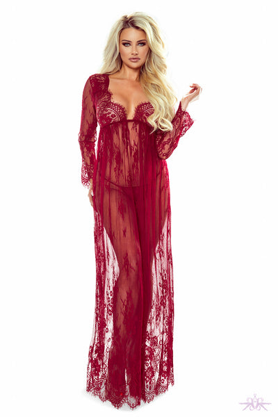 Provocative Red Long Lace Gown - Mayfair Stockings