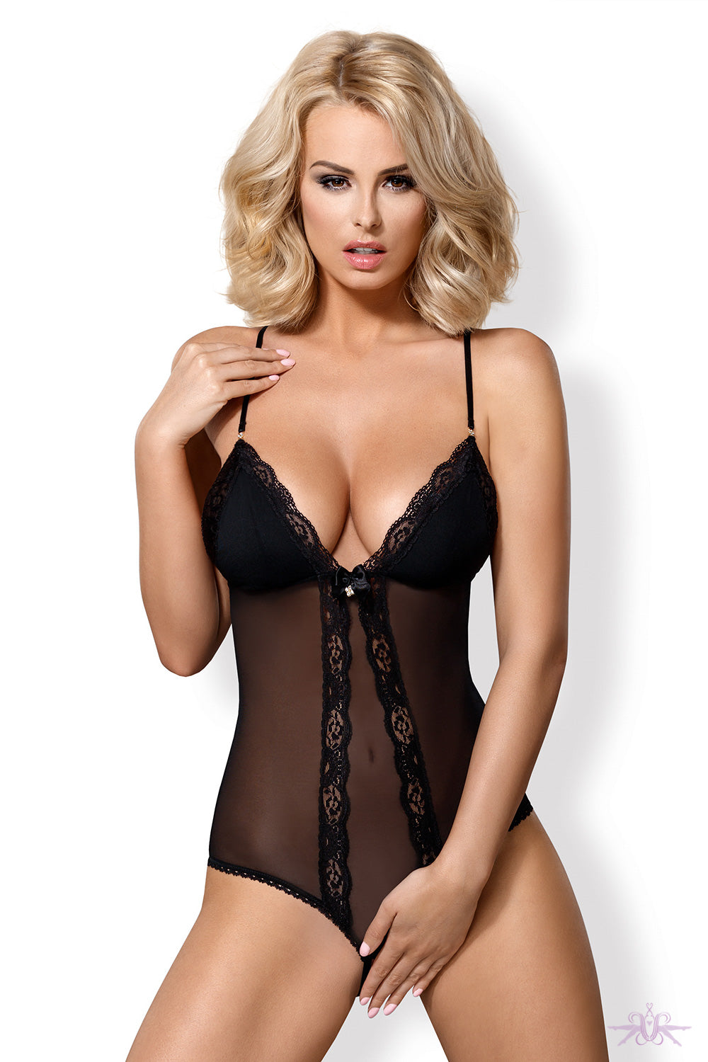 Obsessive Padded Cross Back Crotchless Bodysuit - Mayfair Stockings