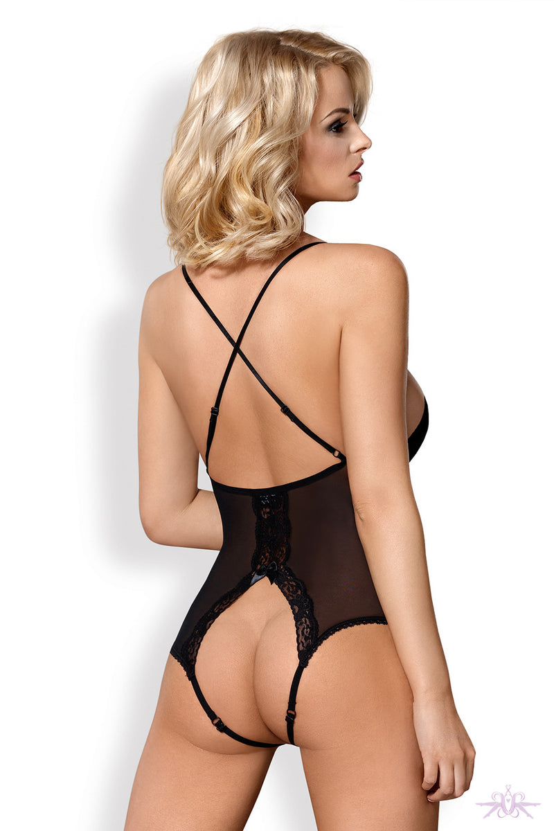 Obsessive Padded Cross Back Crotchless Bodysuit