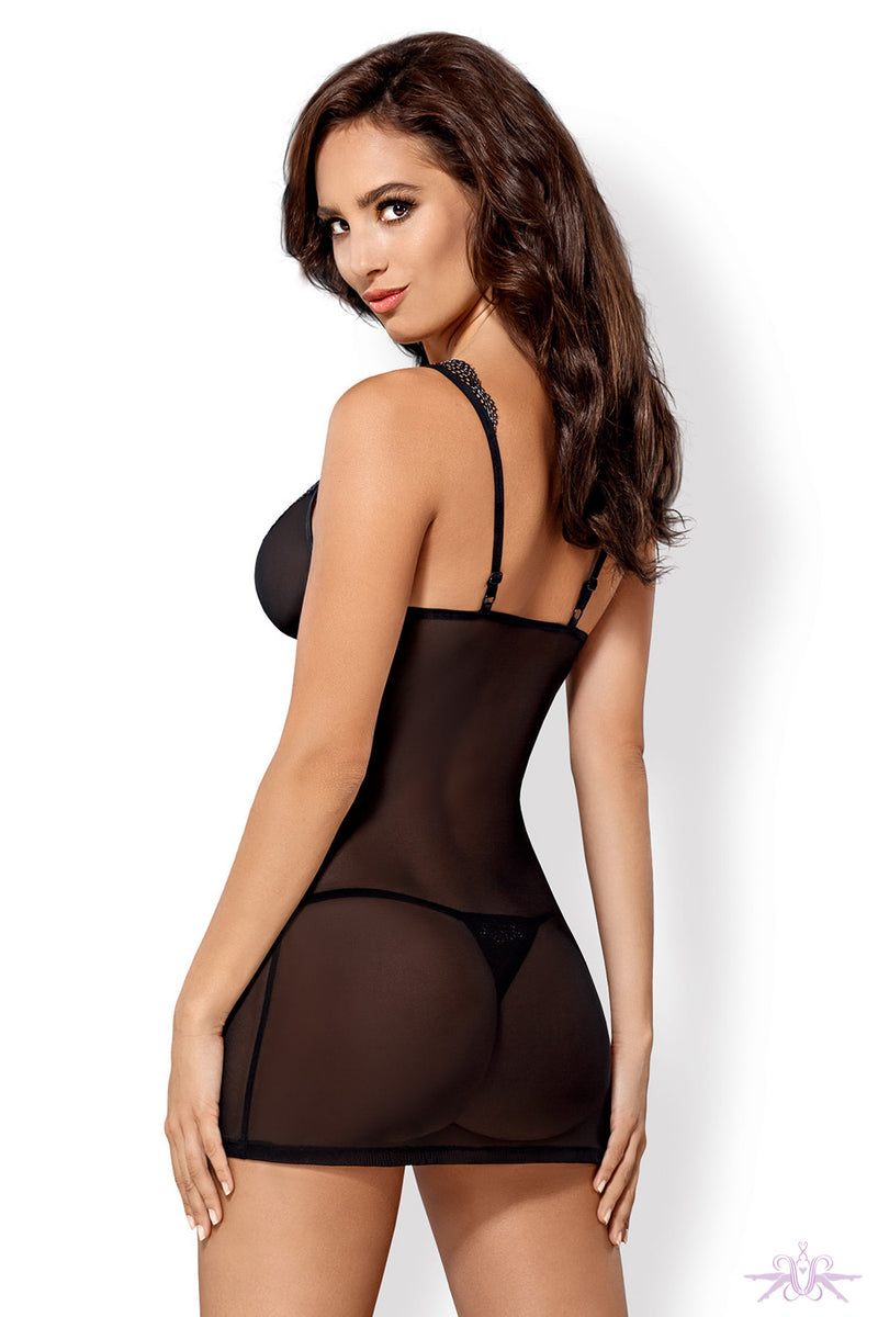 Obsessive Black Sheer Chemise and Thong - Mayfair Stockings
