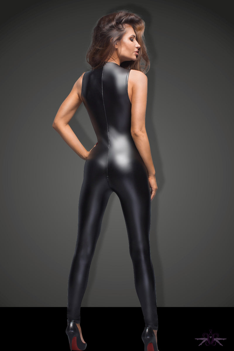 Noir Handmade Wetlook Sleeveless Catsuit
