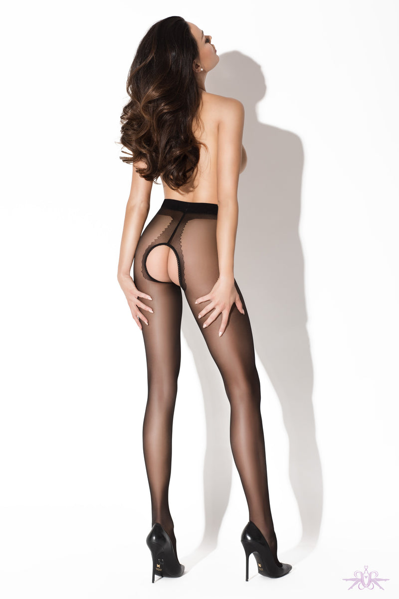 Amour Gloss Crotchless Black Tights - Mayfair Stockings