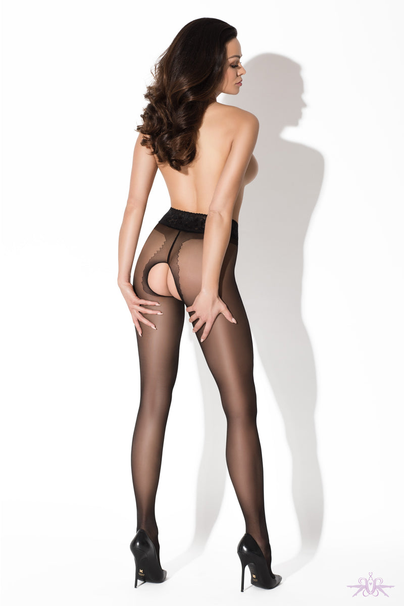 Amour Black Lace Crotchless Tights - Mayfair Stockings
