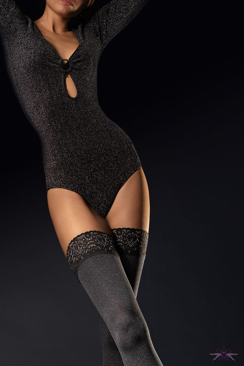 Fiore Fancy Hold Ups - Mayfair Stockings
