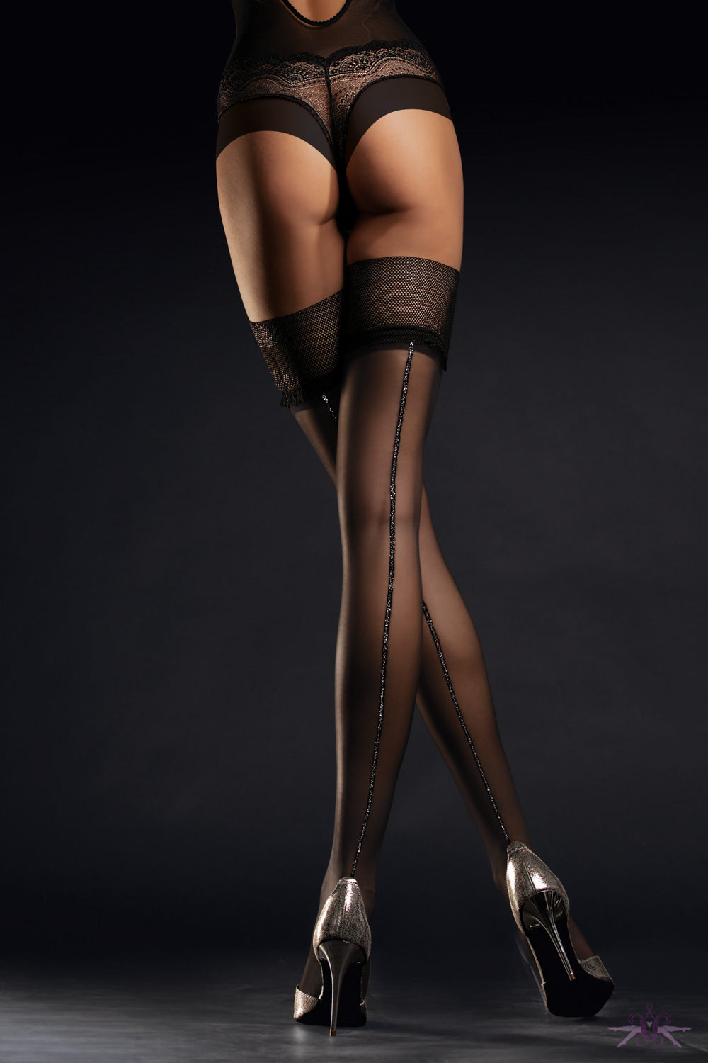 Fiore Allure Silver Seam Hold Ups - Mayfair Stockings