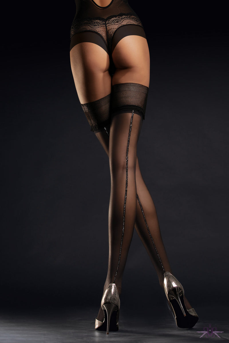 Fiore Allure Silver Seam Hold Ups