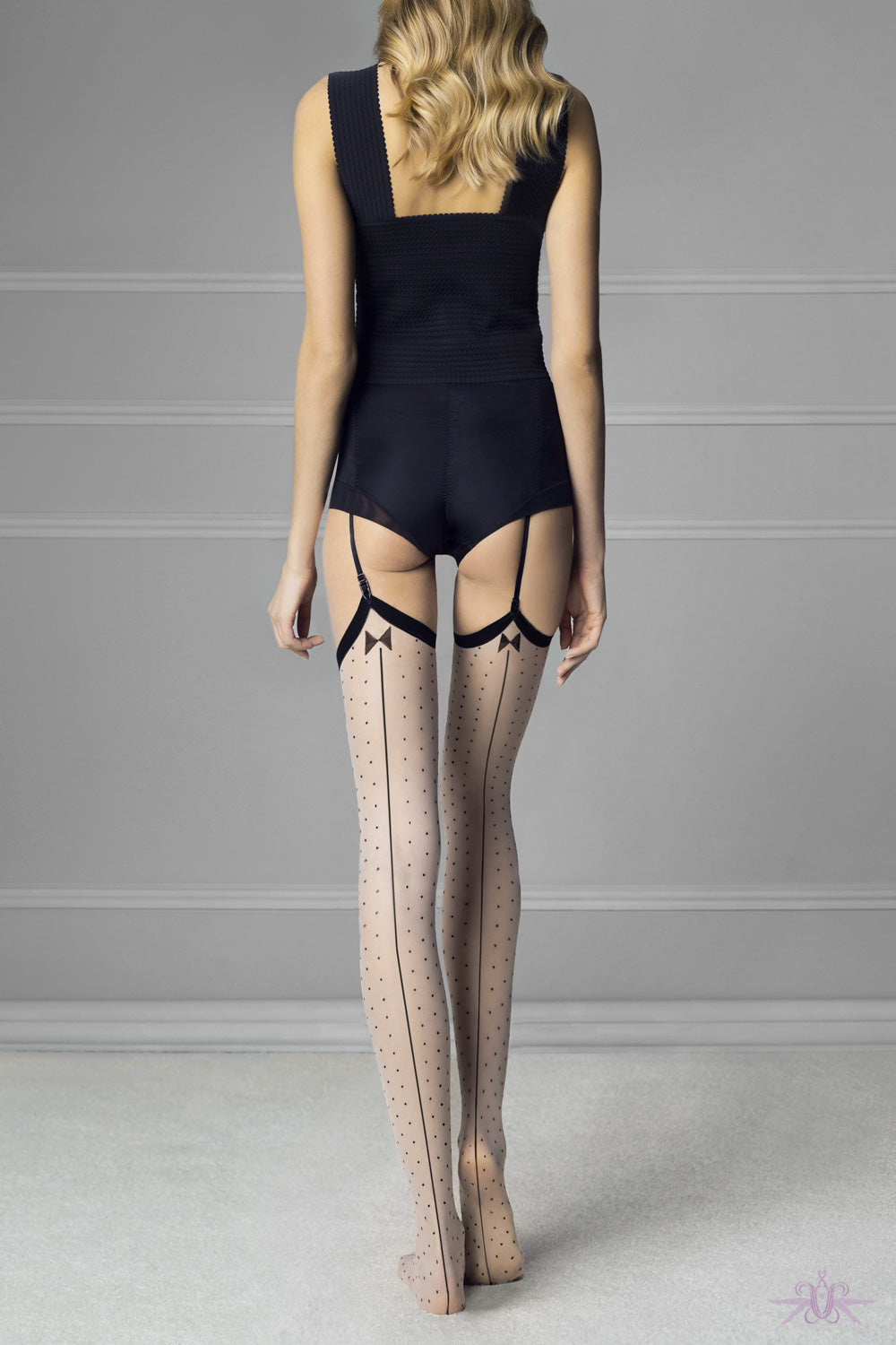Fiore Gossip Spotted Stockings - Mayfair Stockings