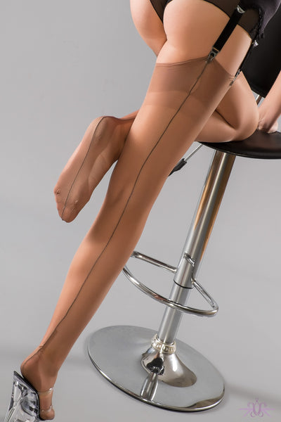Gio Cuban Heel Fully Fashioned Stockings - Contrast Seam - Mayfair Stockings
