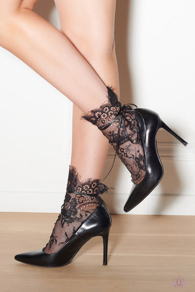 Maison Close Black Lace Socks - Mayfair Stockings