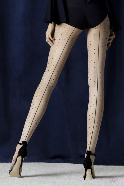 Fiore Intrigue Seamed Spotted Tight - Mayfair Stockings