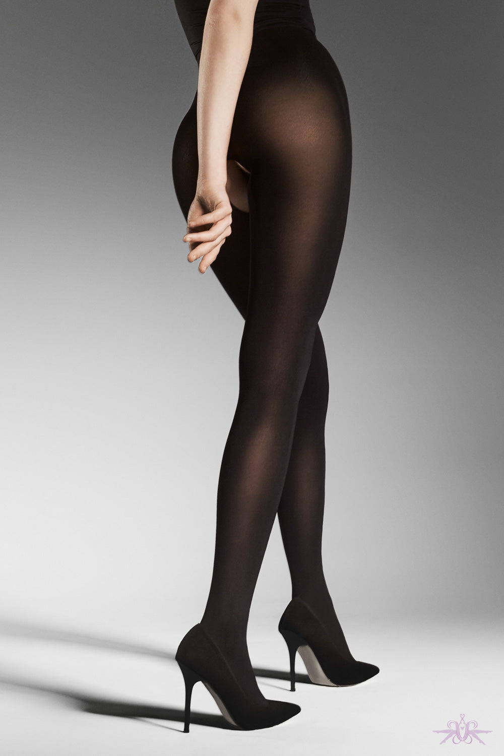 Fiore Ouvert Opaque Tight - Mayfair Stockings