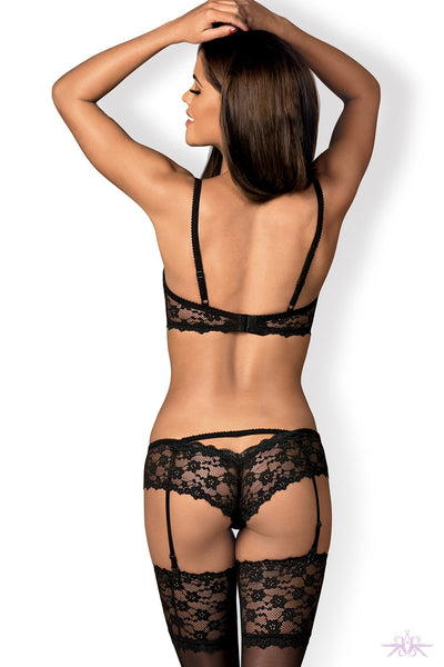 Obsessive Letica Black Bra and Suspender Set
