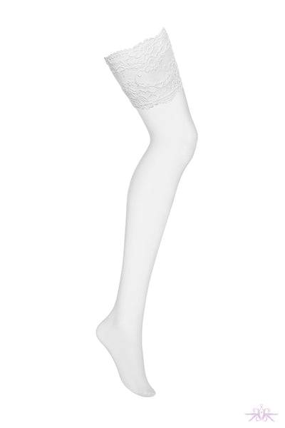Obsessive Deep Lace White Stockings - Mayfair Stockings
