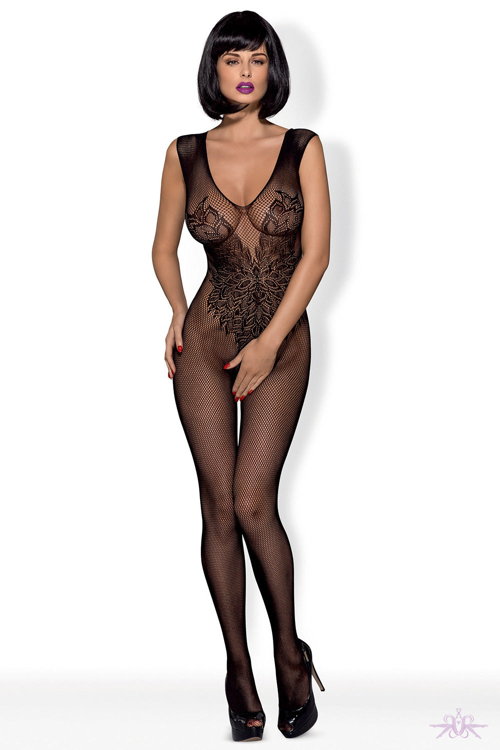 Obsessive Wing Motif Fishnet Bodystocking