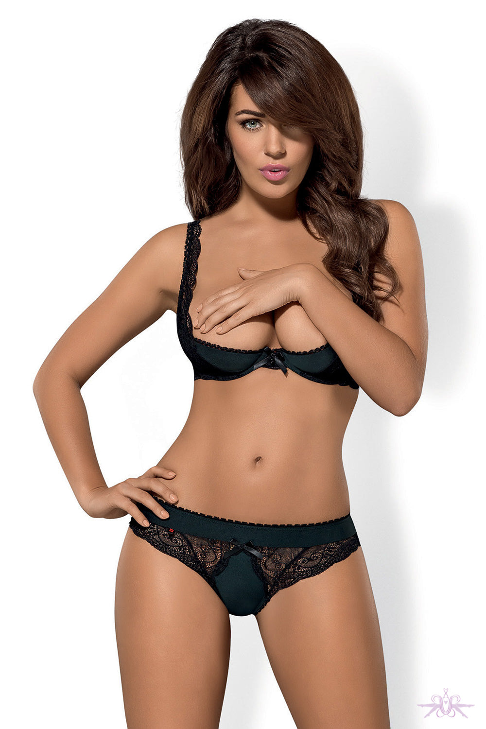 Obsessive Miamor Black Half Bra and Thong - Mayfair Stockings